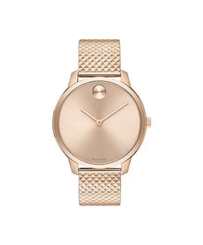 Movado Bold, Gold Steel Case, Gold Dial, Steel Mesh Bracelet, Women, 3600596