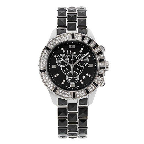 Christian Dior Unisex Christal Chronograph Diamond Black Dial Watch