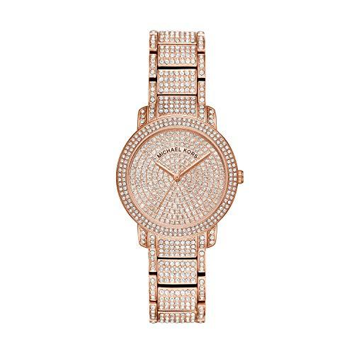 Michael Kors Women's Rose Gold Tone Pave Glitz Watch