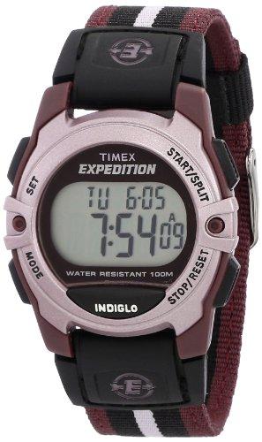 Timex Unisex Expedition Mid-Size Digital CAT Plum Stripe Nylon Strap Watch