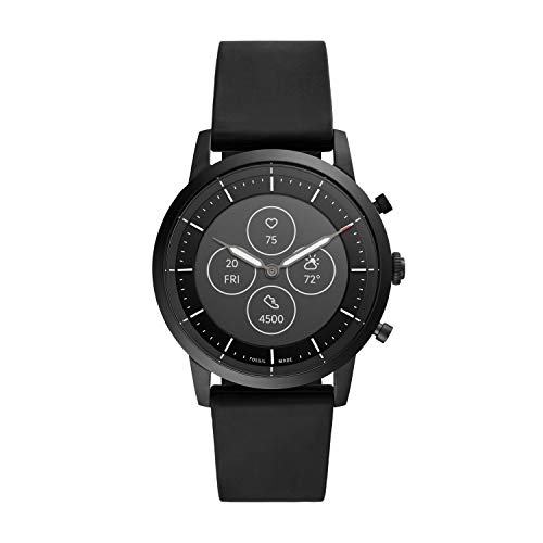 Fossil Men's Collider HR Heart Rate Stainless Steel and Silicone Hybrid Smartwatch