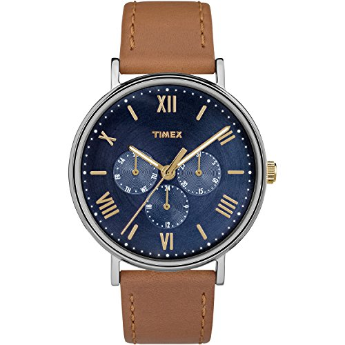 Timex Unisex Southview 41mm Multifunction Tan/Blue Leather Strap Watch