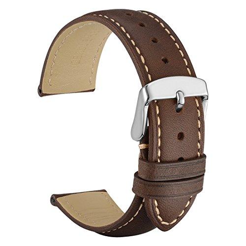 WOCCI 20mm Watch Band - Vintage Leather Watch Strap Dark Brown