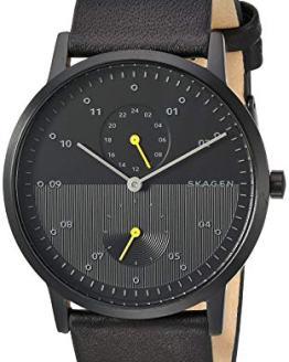 Skagen Men's Kristoffer Multi Quartz Leather Watch Color: Black IP/Black