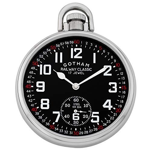 Gotham Men's Stainless Steel Mechanical Hand Wind Railroad Style Pocket Watch
