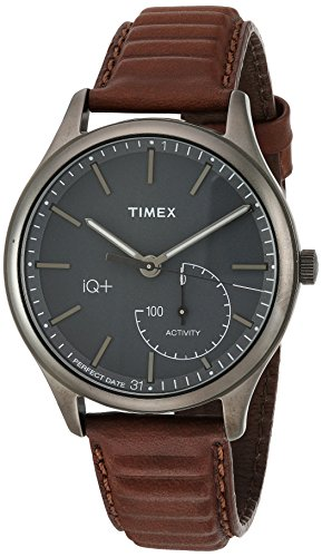 Timex Men's + Move Activity Tracker Brown Leather Strap Smartwatch