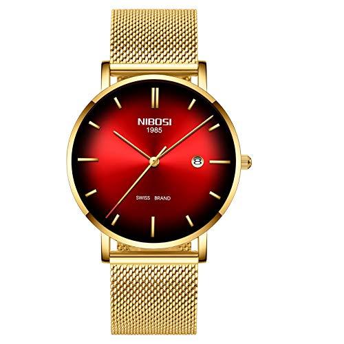 Mens Watch Ultra Thin Wrist Watches for Men Fashion Waterproof Dress