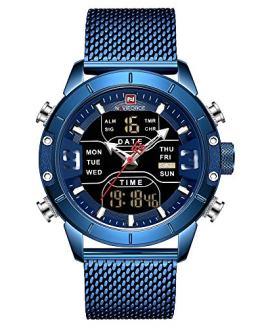 NAVIFORCE Digital Watch Men Waterproof Sports Watches Stainless Steel