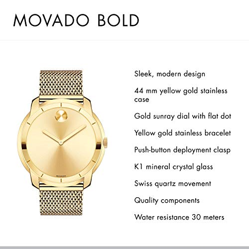Movado Men's Swiss-Quartz Watch with Gold-Plated-Stainless-Steel Strap Movado, the flagship brand within the Movado Group Inc. portfolio, was founded in La Chaux-de-Fonds, Switzerland in 1881, and acquired by the corporation in 1983. Recognized today for its iconic Museum dial and modern aesthetic, Movado has earned more than 100 patents and 200 international awards for watch design and time technology, and Movado timepieces are in the permanent collections of museums worldwide. This long, rich heritage of artistry and innovation in design, and a close, enduring association with the arts continue to define the Movado brand identity. Always in motion, Movado creates modern watches of exceptional craftsmanship and design distinction.