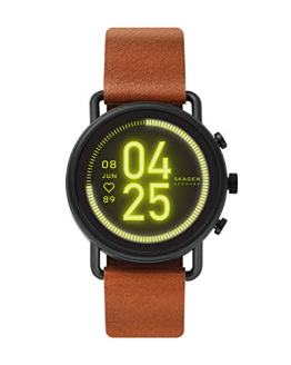Skagen Connected Falster 3 Stainless Steel and Leather Touchscreen Smartwatch, Color: Brown/Black (Model: SKT5201)