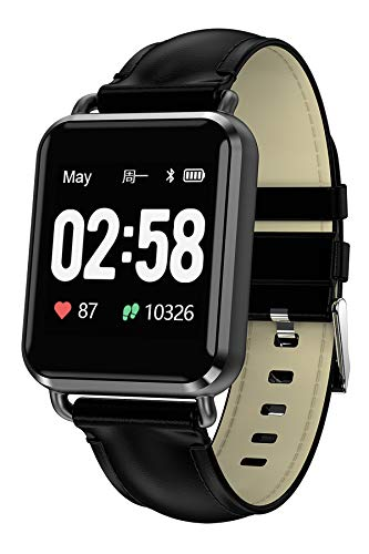 Fitness Tracker Heart Rate Monitor Leather Smartwatch Blood Pressure Bluetooth
