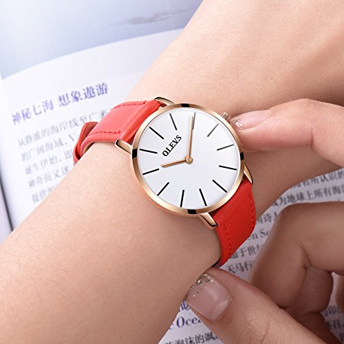 OLEVS Womens Thin Watches for Ladies Female College Students Red Leather Wrist