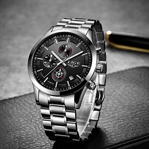 LIGE Men's Watches Fashion Watch Silver Black Luxury Military Sport Waterproof