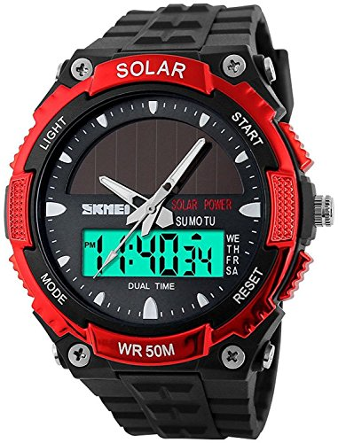 Fanmis Men's Solar Powered Casual Quartz Wrist Watch Analog Digital