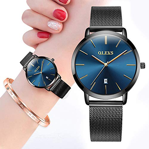 OLEVS Womens Watches Ultra Thin and Bracelet Gift Set Rose Gold
