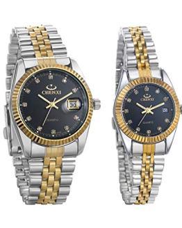 JewelryWe Luxury Couple Watches Gold-Silver Tone Stainless Steel Quartz Calendar