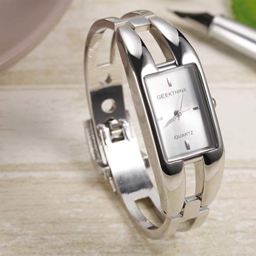 JewelryWe Womens Bracelet Watch Alloy Square Dial Quartz Wristwatch for Ladies