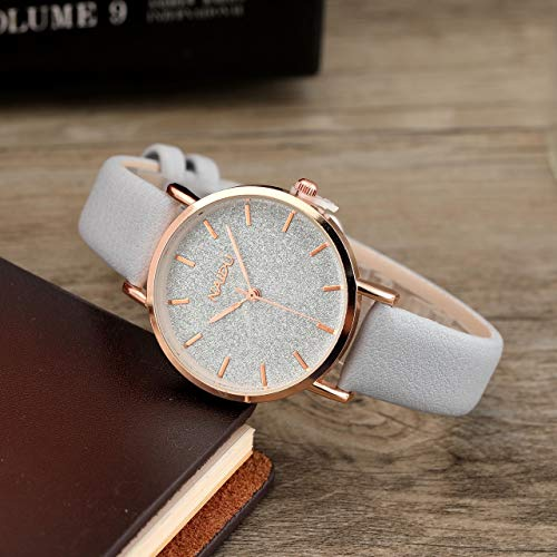 Top Plaza Womens Ladies Fashion Grey Leather Wrist Watch Elegant Simple