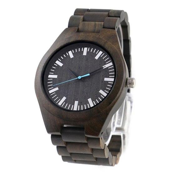 Male Quartz Ebony Wood Wrist Watch for Husband