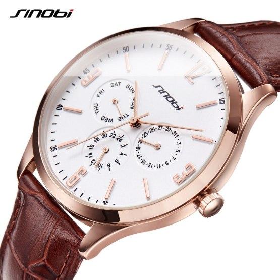 SINOBI Slim Point Quartz Wrist Watch Top Brand Sports