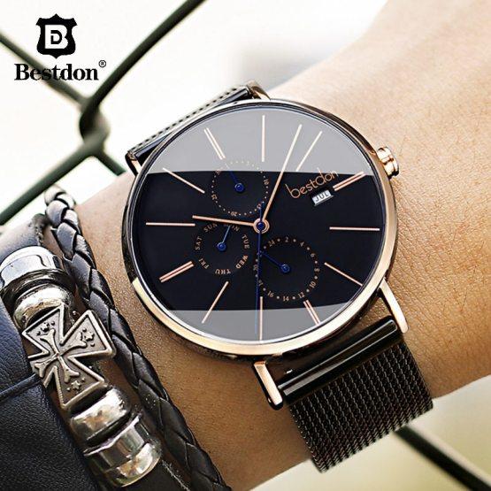 Luxury Males's Wrist Watch Quartz Waterproof Slim Month