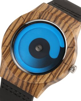 Wooden Watch Men Creative Swirl Dial Blue/Purple Casual