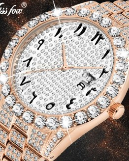 Arabic Numerals Diamond Watch Men Rose Gold