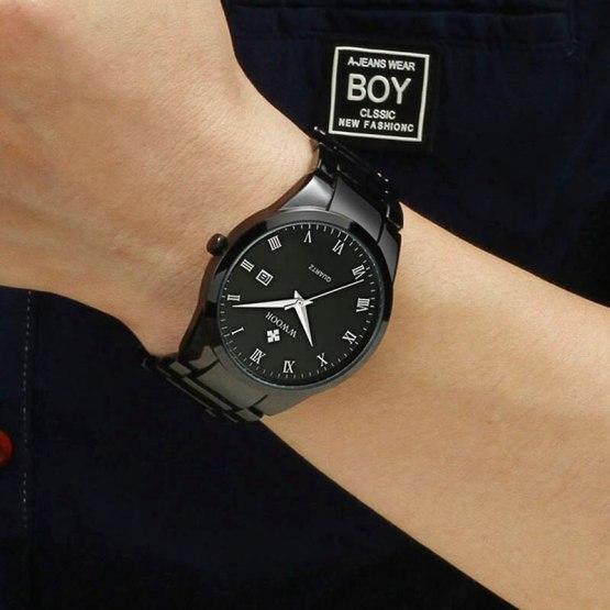 Full Steel Black Clock Man Wrist Watch Gifts Watch With Box