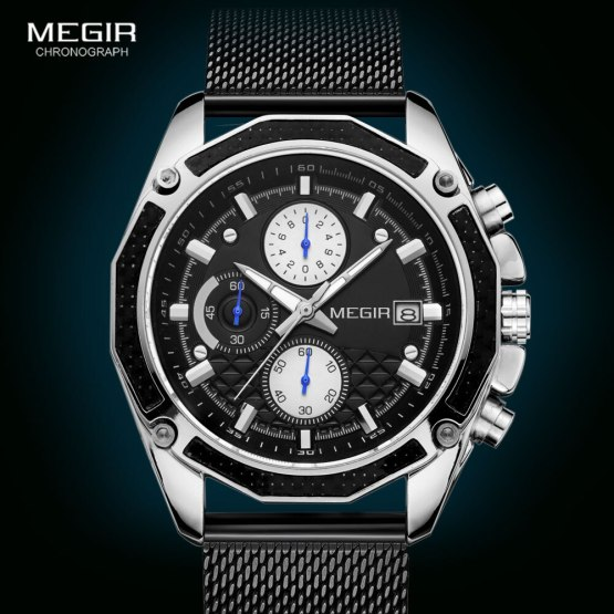Men Mesh Casual Sport Chronograph Watch
