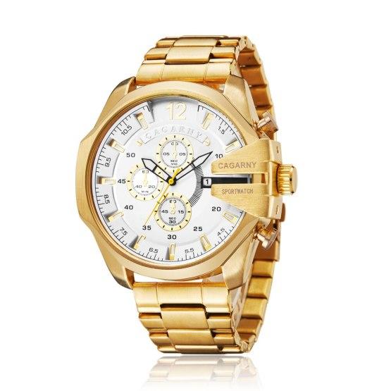 Watches Men Luxury Brand Cagarny Men Sports Watches Waterproof Gold Steel Quartz Men's Wrist Watch Relogio Masculino Male Clock