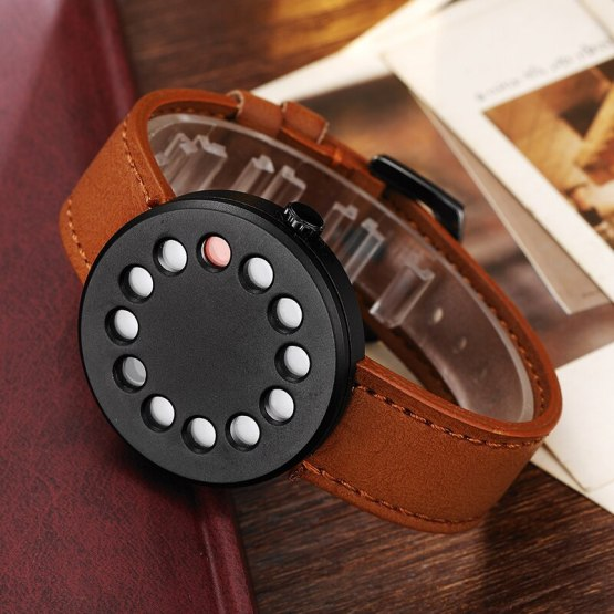 Wrist Watches Novelty Leather Quartz-watch Couple Black