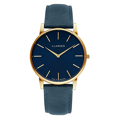 Blue Stainless Steel Quartz Watch with Leather Strap