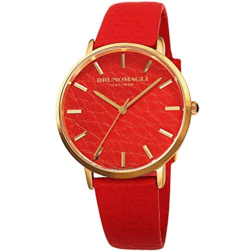 Italian Leather Dial Strap Orange Watch Bruno Magli