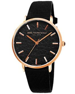 Black Italian Leather Dial Strap Watch Bruno Magli