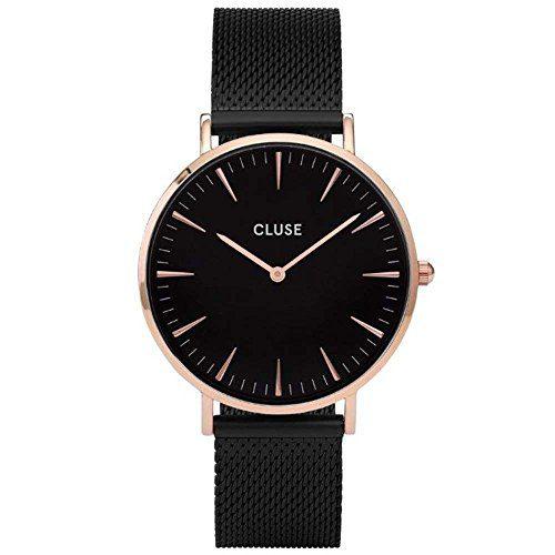 CLUSE La Bohème Mesh Rose Gold Black Black Women's Watch