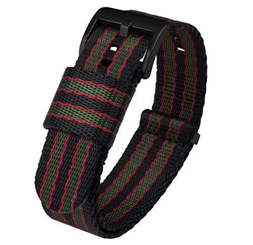BARTON Jetson NATO Style Watch Strap, 24mm Black/Green/Red