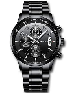 CRRJU Men's Watch Fashion Business Chronograph Quartz Wristwatches