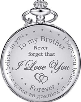 Pocket Watch Engraved with Chain for Mens