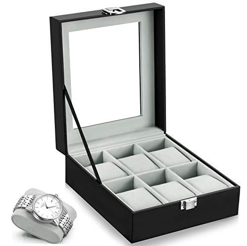 Leather Case Watch Box Wooden Storage Organizer
