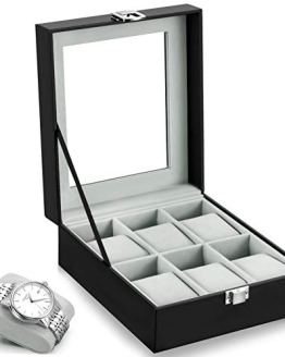 Leather Case Watch Box Wooden Storage Organizer