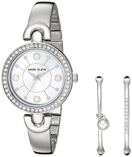 Swarovski Crystal Accented Silver-Tone Watch and Bangle SetAnne Klein