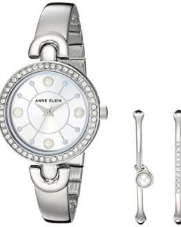 Swarovski Crystal Accented Silver-Tone Watch and Bangle Set Anne Klein