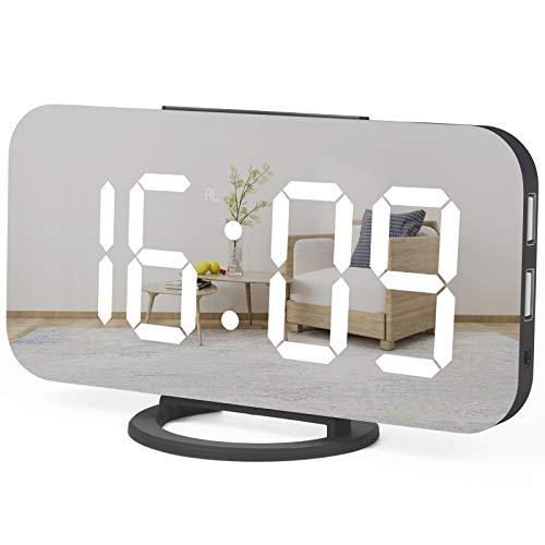 WulaWindy Digital Alarm Clock, Large Mirrored LED Display