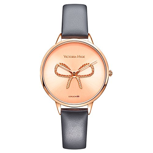 Rose Gold Case and Grey Genuine Leather Wristwatch