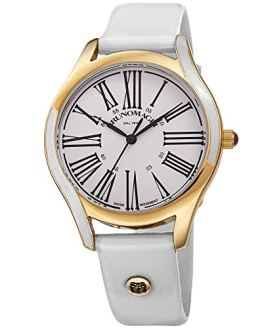 White Italian Patent Leather Dial Strap Watch Bruno
