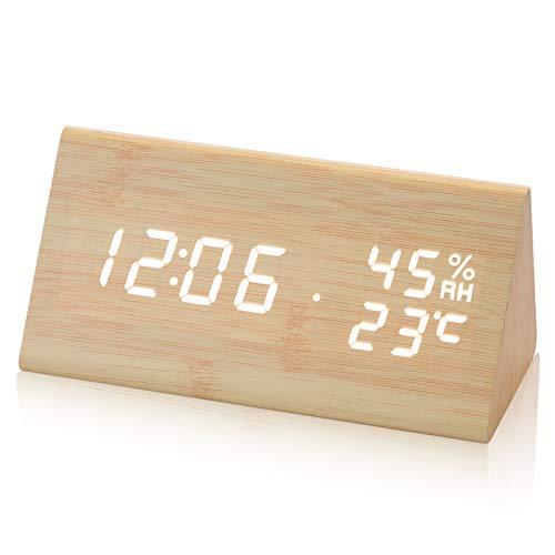 Electime Digital Alarm Clock Wooden Clock LED Time Display