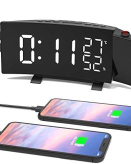 LESHP 3-Color Projection Alarm Clock, Temperature and Humidity Display