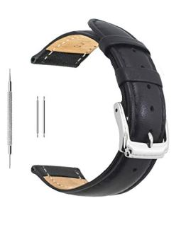 Berfine 22mm Black Calf Leather Watch Band Replacement