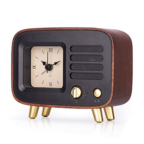Retro Wooden Alarm Clock with Bluetooth Speaker