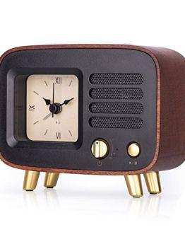 Retro Wooden Alarm Clock with Bluetooth Speaker